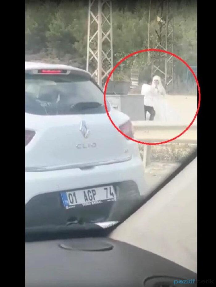 damat, yol kenarında tekme tokat gelini dövdü!