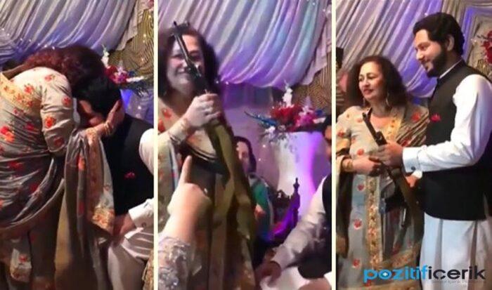 damada düğün hediyesi ak-47 keleş veren kadın